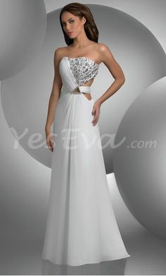 Elegant Strapless Chiffon Long Prom Dresses with Beaded.$169.95