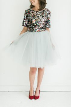 Love this tulle skirt and sequin top combo...especially for holidays!!!