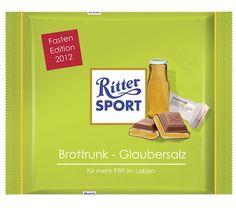 Für die (Heil-)Fastenzeit: Ritter Sport mit Brottrunk & Glaubersalz. Für mehr Pfiff im Leben