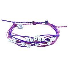 Pura Vida Bracelets Platinum Beaded Bracelet ($15) ❤ liked on Polyvore featuring jewelry, bracelets, accessories, purple, women, cocktail jewelry, evening jewelry, bead jewellery, beading jewelry and special occasion jewelry
