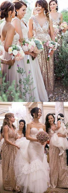 New Style Glamorous V-neck Floor Length Sleeveless Sequins Gold Bridesmaid Dress