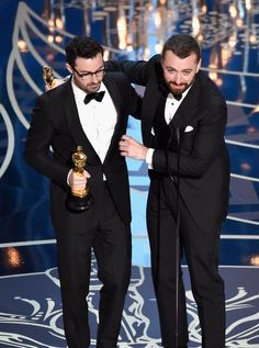 Jimmy Napes and Sam Smith accept the Best Original Song award for 'Writing's on the Wall' from 'Spectre' onstage during the 88th Annual Academy Awards at the Dolby Theatre on February 28, 2016 in Hollywood