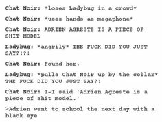 Don't insult Adrien in front of Ladybug XD excuse the swears but this is funny
