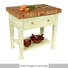 Portable butcher block. Love this one for a small kitchen.