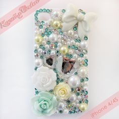 Tiffany Blue Roses & Bows iPhone 4/4S Case | $45.00    SHOP: www.etsy.com/shop/kawaiixcoutureHandmade decoden phone cases, jewelry, & accessories ♡