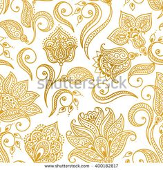 Vector illustration of golden mehndi seamless pattern. Traditional indian style, ornamental floral elements for henna tattoo, golden stickers, mehndi and yoga design, cards and prints