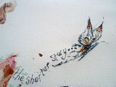 Butterfly and song lyric commission detail. Hand embroidery