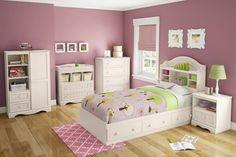dekorace pokoj dívka růžový prášek, bílý nábytek, vznešený nápad malba dětské dítě