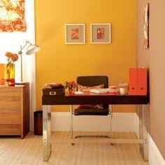Sala de Estar - amarelo, marrom, toques de laranja - Quente, quente...