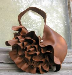 Moose Leather Natural Edge Leather Ruffle Bag in Tobacco Brown