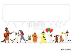 ベクター: christmas dogs and cats border with speech bubble点
