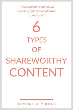 Are you struggling to come up with blog content ideas best suited for your audience?  Content creation doesn't have to be difficult! Click through to discover the six types of shareable content your readers will love!