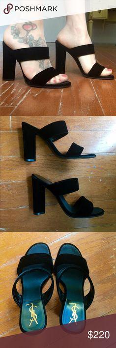 5a46923f453 Authentic YSL sandals 😍 Look just fabulous! Worn few times, black velvet  Yves Saint