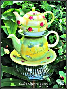 Two Teapots Garden Totem Stake  As by GardenWhimsiesByMary on Etsy, $38.00