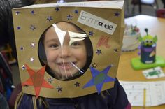 space unit - paper bag helmet -- for deacon's costume