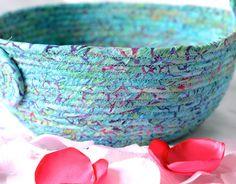 Aqua Easter Basket, Handmade Batik Fiber Basket, Turquoise Easter Bucket, Easter Decoration, Easter Egg Hunt Bag,  by Wexford Treasures