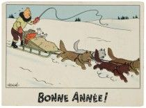 CARTE NEIGEBONNE ANNÉE ! - TRAINEAU ET CHIENS Illustration Noel, Illustrations, Captain Haddock, Herge Tintin, Fictional Heroes, Ligne Claire, Kids Tv Shows, Merry Christmas And Happy New Year, Christmas Ideas