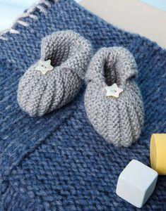 Modèle chaussons points mousse et godron