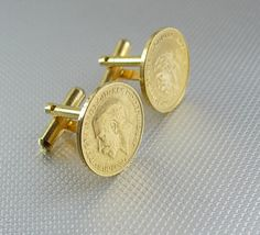 George V Farthing English COIN cufflinks by NeatstuffAntiques
