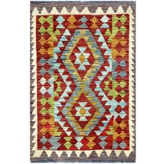 Herat Oriental Afghan Hand-woven Tribal Kilim Red/ Light Rug