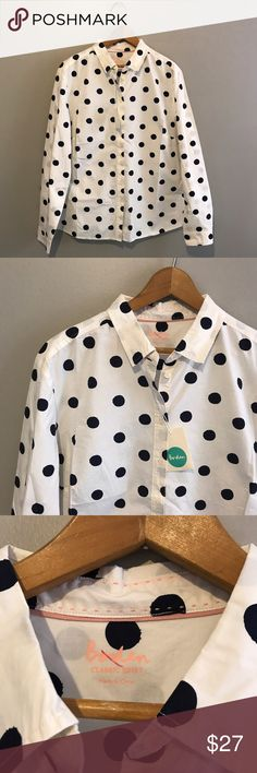"""NWOT Boden Women's Classic Button Down Dot Shirt This has the pouch with the extra button but doesn't have the original price tags. There is also a red mark on the brand (please see pictures).                Measurements: Armpit to armpit: 23"""" Shoulder to shoulder: 17"""" Length: 29"""" Sleeves: 23.5"""" Boden Tops Button Down Shirts"""