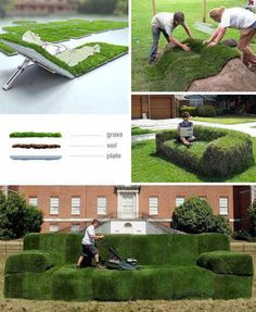 grass diy lawn furniture with real grass Dream Garden, Garden Art, Garden Design, Pasto Natural, Outdoor Spaces, Outdoor Living, Yard Furniture, Green Furniture, Outdoor Furniture