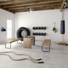 gym room at home small spaces ~ gym room . gym room at home . gym room at home small spaces . gym room at home ideas . gym room at home luxury . Home Gym Basement, Home Gym Garage, Diy Home Gym, Gym Room At Home, Home Gym Decor, Basement Workout Room, Basement Ideas, Crossfit Garage Gym, Basement Bars