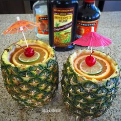 Pineapple Mai Tai Cocktail - For more delicious recipes and drinks, visit us here: www.tipsybartender.com