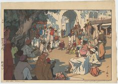 Hiroshi Yoshida (1876-1950), Snake Charmers, woodblock print