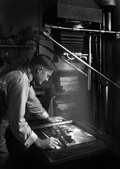A. Aubrey Bodine making prints  October 24, 1949  Unidentified photographer (possibly self-portrait)  Baltimore City Life Museum Collection  Maryland Historical Society  B655-23B