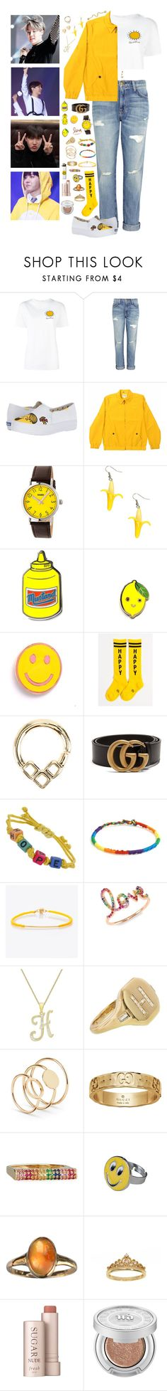 """~~happy birthday to my hope, j hope!~~"" by we-are-the-wild-ones ❤ liked on Polyvore featuring Christopher Kane, Current/Elliott, Keds, tuktuk, Crayo, PINTRILL, Gumball Poodle, Hot Topic, Lipsy and Gucci"