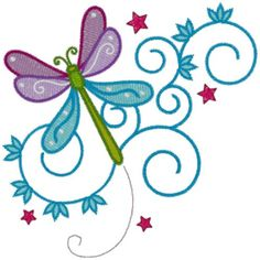 AnnTheGran Free Embroidery Design: Dragonfly 3.50 inches H x 3.50 inches W