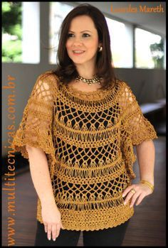 Blusa dourada em crochê de grampo Hairpin lace/ Horquilla www.multitecnicas.com.br