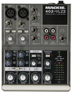 Mackie 402-VLZ3 Premium 4-Channel Ultra-Compact Mixer by Mackie. $99.99. Amazon.com                Until now, mixers built for low-input, two-mic or one-mic-and-a-guitar applications really skimped on quality. With their flimsy construction and dismal sound, they resembled and performed like children's toys. So we created the 402-VLZ3, the perfect ultra-compact mixer for applications that require few inputs, but demand full-on professional sound.  The 4-channel ...