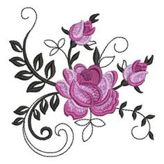 Elegant Red Roses embroidery design from embroiderydesigns,com