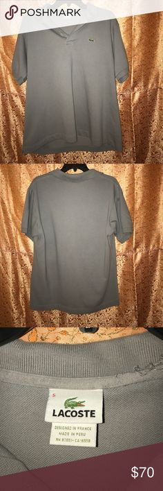 Men's Lacoste Polo Style Shirt size 5 ( medium) Men's LACOSTE Grey Polo Style Shirt. Has a small rip under collar. See pic. Not noticeable when collar is down. No stains at all . Worn 3 times. Size 5 ( medium) Lacoste Shirts Polos