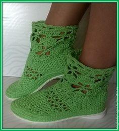 Купить Ажурные сапожки - зеленый, обувь ручной работы, вязаная обувь, обувь на заказ