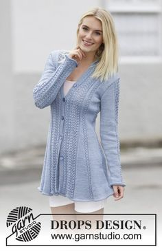 "Knitted DROPS jacket with lace pattern and shawl collar in ""Muskat"". Size: S - XXXL. ~ DROPS Design"