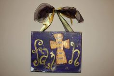 LSU Faith Cross Wall Art 8X10 by ICrossMyArtByTracy on Etsy, $24.00