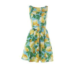 Love this Tropical 50's dress- Lemon A-line with pleated skirt.