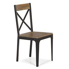Chaise style industriel en orme et métal