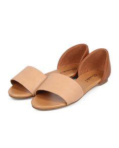 New-Women-Breckelles-Brigit-01-Two-Tone-Leatherette-Open-Toe-Dorsay-Slip-On-Flat