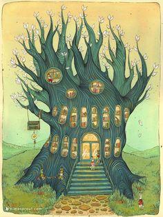 bibliolectors:  Tree-Library / Árbol-biblioteca (ilustración de Nicole Gustafsson)