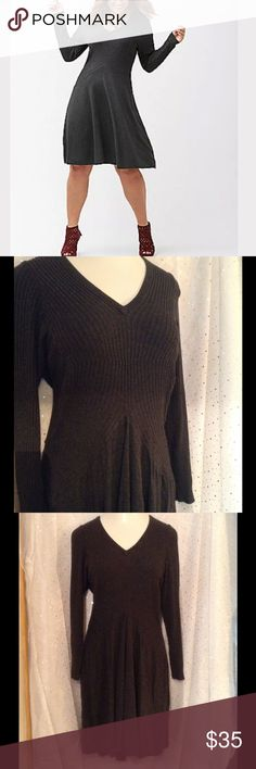 ➕ PLUS (22/24) Lane Bryant Charcoal Sweater Dress Fetching fall frock! Get those tights and boots ready and pair with this great piece!  Worn once for a conference and well kept in smoke free home. You will love the hint of stretch to show off your assets! Lightweight 83% rayon 17% nylon makes this perfect for just about any season. Great for work or play! Charming, flattering ribbed detail on bodice.  Size is 22/24. Measurements taken lying flat, unstretched, straight across, in inches…