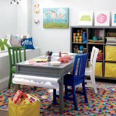 Cute and organized playroom setup