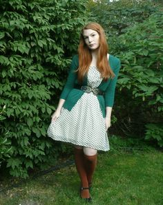 Discover this look wearing White Target Dresses, Burnt Orange Sock Dreams Socks, Teal Modcloth Cardigans - Knee Highs & Paisley. Fall Outfits, Cute Outfits, Fashion Outfits, Burnt Orange Dress, White Polka Dot Dress, Target Dresses, Dress With Cardigan, Graduation Pictures, Vintage Inspired Dresses