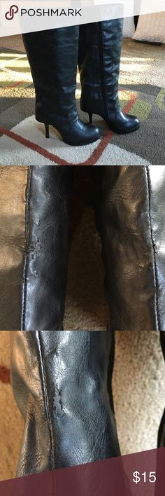 """Volatile boots🎀 Black inside zipper up to the knee heeled boots🎀 boot height approx 18"""" 🎀 heel measures approx 4"""" 🎀 boots do have three small areas of the light wear see pic 2&3 🎀 right boot small spot front only🎀 left boot small spot front and back🎀 Volatile Shoes Heeled Boots"""