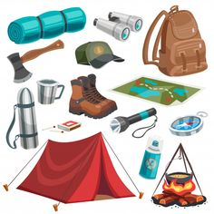 Camping scouting isolated images set with useful summer travel equipment tools provisions map campfire and tent vector illustration