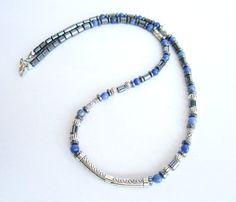 Men's gemstone beaded necklace sodalite stone by Bravemenjewelry
