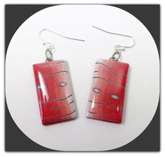 Red Orange Dangle Earrings polymer clay jewelry by BeadazzleMe, $10.00
